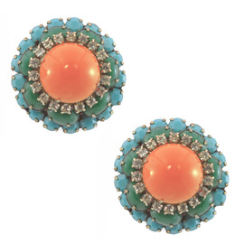 Vintage KJL Coral Domed Earrings