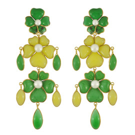 Vintage Gripoix Green Yellow Glass Earrings