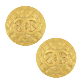 Vintage Chanel Jumbo Quilted Button Earrings