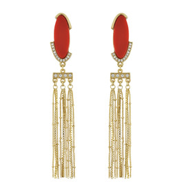 Sequin Red Chain Drop Earrings