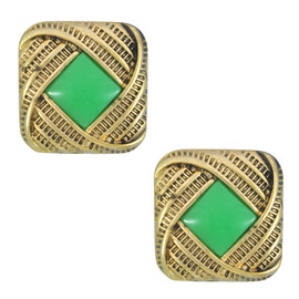 Pink Pave Green Center Square Earrings