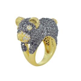 Noir Pave Teddy Bear Ring