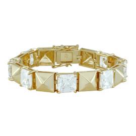 Noir Gold Large Square Pyramid Punk Bracelet