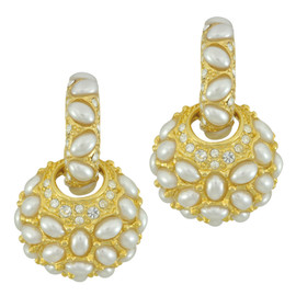 Kenneth Jay Lane Pearl Doorknocker Earrings
