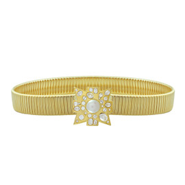 Kenneth Jay Lane Pearl Crystal Gold Belt