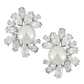 Kenneth Jay Lane Pearl Crystal Flower Earrings