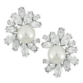 Kenneth Jay Lane Pearl Crystal Flower Earrings