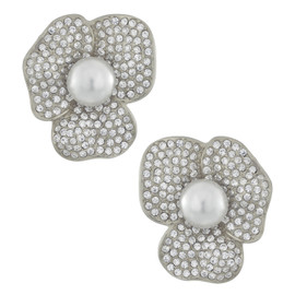 Kenneth Jay Lane Silver Pearl Flower Earrings