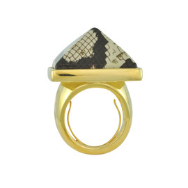 Kenneth Jay Lane Gold Snake Print Ring