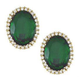 Kenneth Jay Lane Emerald Oval Earrings