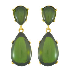 Kenneth Jay Lane Green Drop Earrings