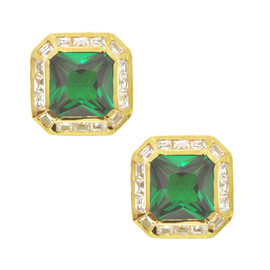 Kenneth Jay Lane CZ Emerald Square Earrings