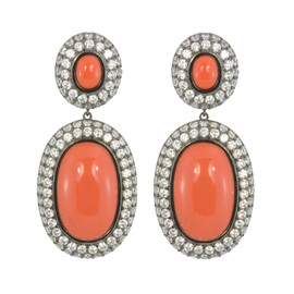 Kenneth Jay Lane CZ Coral Drop Earrings