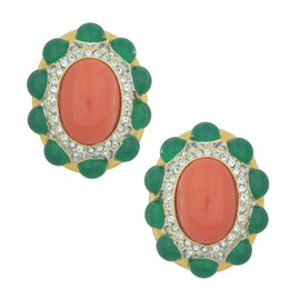Kenneth Jay Lane Coral Emerald Earrings
