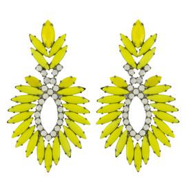 Elizabeth Cole Yellow Navette Crystal Earrings