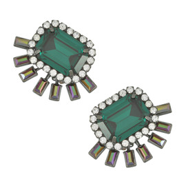Elizabeth Cole Emerald Octagon Earrings