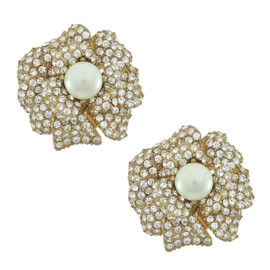Ciner Lana Pearl Centre Flower Earrings