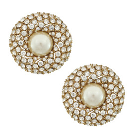 Ciner Pave Round Pearl Button Earrings