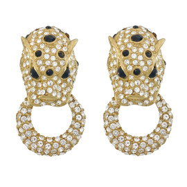 Ciner Pave Lion Head Doorknocker Earrings
