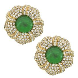 Ciner Grace Pave Emerald Flower Earrings