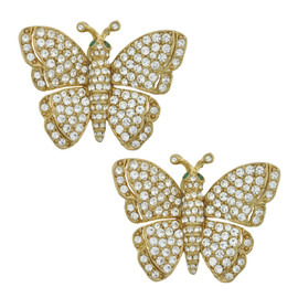 Ciner Pave Crystal Butterfly Earrings
