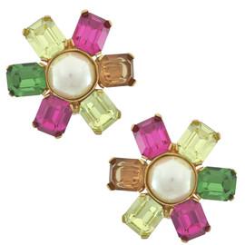 Ciner Multicolored Pearl Centre Flower Earrings
