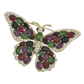 Ciner Multicolored Butterfly Brooch