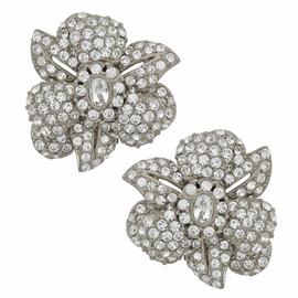 Ciner Latifa Crystal Silver Flower Earrings