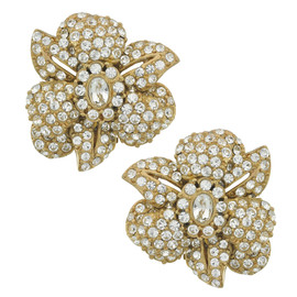 Ciner Latifa Crystal Gold Flower Earrings