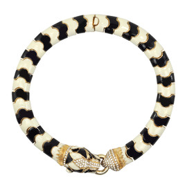 Ciner Black and White Panther Head Necklace