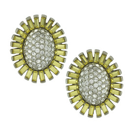 Ben-Amun Yellow Crystal Flower Earrings