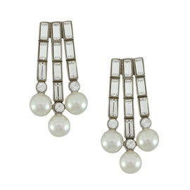 Ben-Amun Crystal Baguette Pearl Earrings