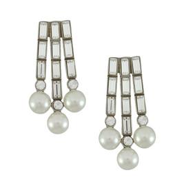Ben-Amun Crystal Baguette Pearl Earrings
