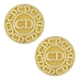 Vintage Christian Dior Gold Logo Earrings