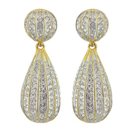 Kenneth Jay Lane Large Crystal Button Drop Earrings