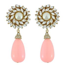 Ciner for Sophie Blush Crystal Flower Drop Earrings