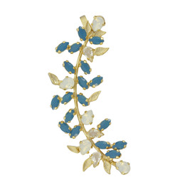 Joanna Laura Constantine Turquoise Crystal Leaves Ear Cuff