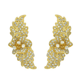 Joanna Laura Constantine Gold Crystal Floral Ear Cuffs