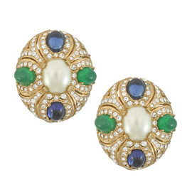 Ciner Eleanor Pearl Emerald Sapphire Earrings