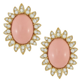 Ciner Blush Cabochon Button Earrings