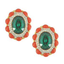 Kenneth Jay Lane Emerald Dark Coral Earrings