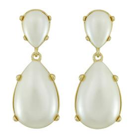Kenneth Jay Lane Gold Shimmer Pearl Drop Earrings