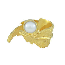 LeiVanKash Gold Feather White Pearl Open Ring