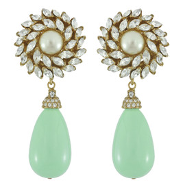Ciner for Sophie Mint Crystal Flower Drop Earrings
