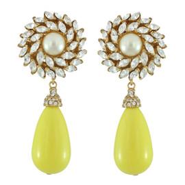Ciner for Sophie Buttercup Crystal Flower Drop Earrings
