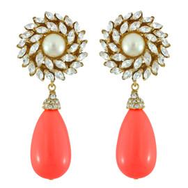 Ciner for Sophie Coral Crush Crystal Flower Drop Earrings