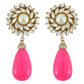 Ciner for Sophie Peony Pink Crystal Flower Drop Earrings
