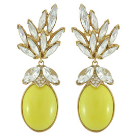 Ciner for Sophie Buttercup Crystal Leaf Drop Earrings