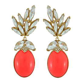 Ciner for Sophie Coral Crush Crystal Leaf Drop Earrings