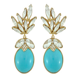 Ciner for Sophie Aqua Blue Crystal Leaf Drop Earrings